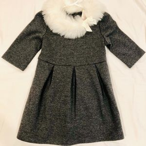 Janie and Jack Dress with Fur Collar
